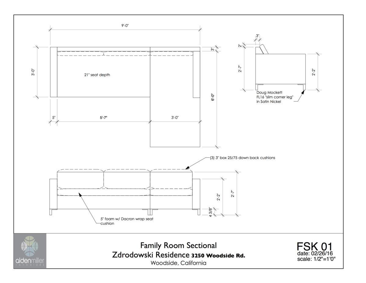 Furniture sketch for a custom ecofriendly sofa