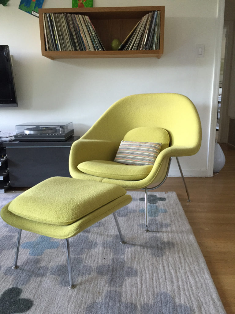 Green womb chair gifted to me when I began my own business.